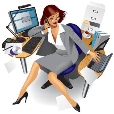 secretary-at-desk-vector