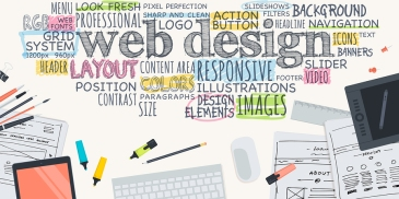 Top view of desk background with digital devices, office objects and elements for web design development, and written different terms related to the process of web design.
